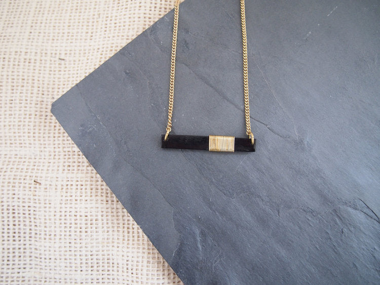 Black Coiled Bar Necklace