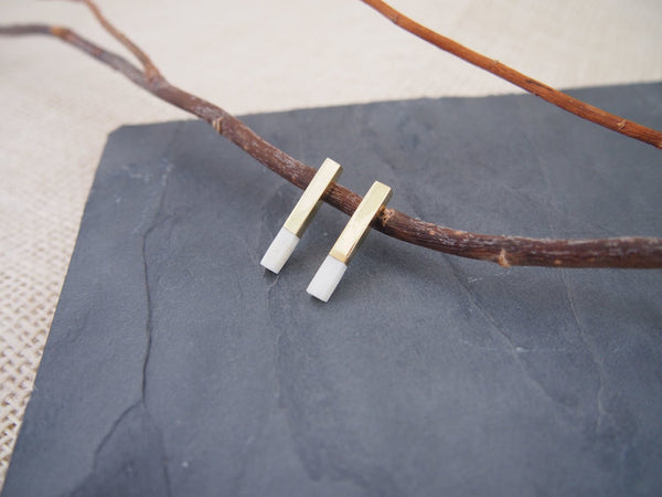 Brass Bar Stud Earrings