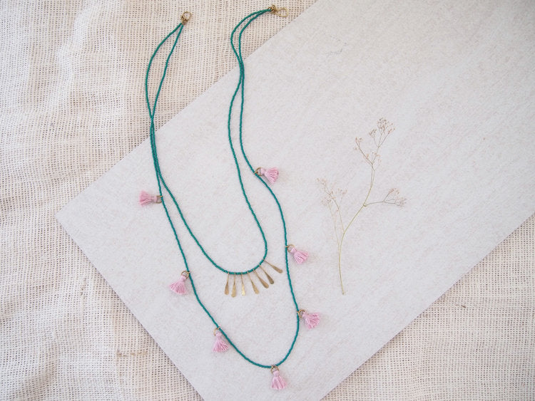 Green and Pink Tassel Necklace