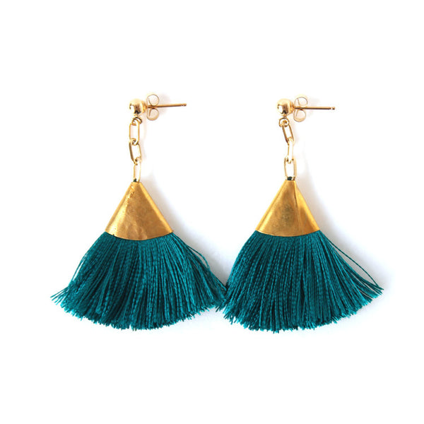 Josie Tassel Earrings - Burgundy or Turquoise