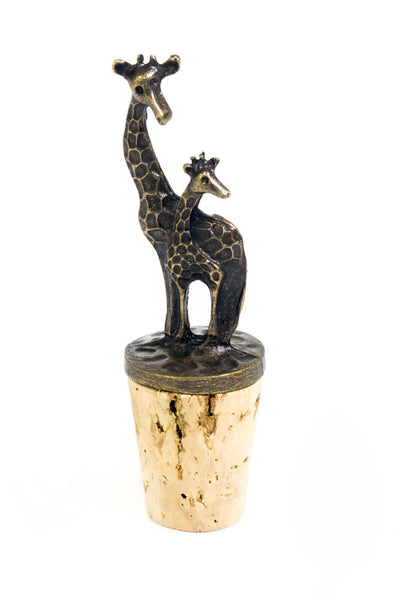 Giraffe Mom and Baby Brass Bottle Stopper