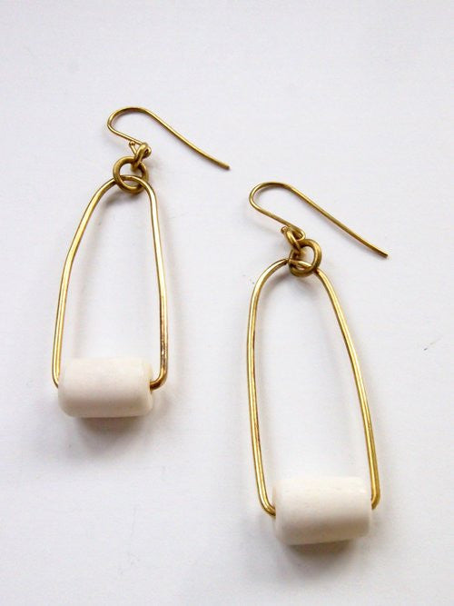 White Pendulum Earrings