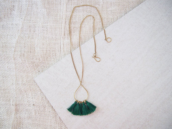 Tassel Teardrop Necklace - Green