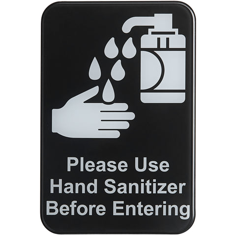 "TableCraft 10594 6"" x 9"" ""Please Use Hand Sanitizer Before Entering"" Sign"