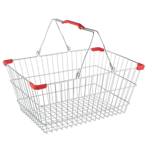 "NELLA 13022 18"" x 13"" CHROME GROCERY SHOPPING BASKET WITH RED HANDLES"