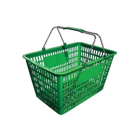 "NELLA 13024 18.75"" x 11.5"" GREEN PLASTIC GROCERY SHOPPING BASKET"