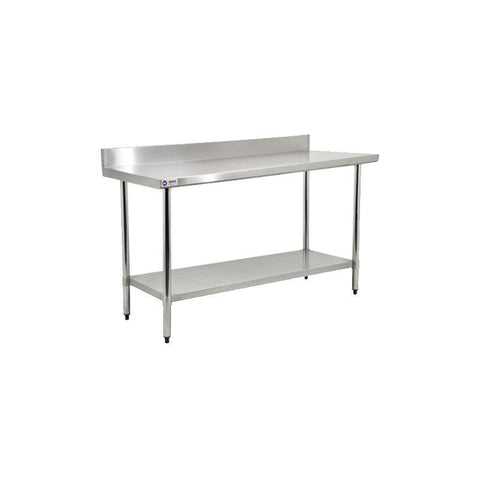 "NELLA 72"" STAINLESS STEEL TABLE WITH BACKSPLASH - 22090"