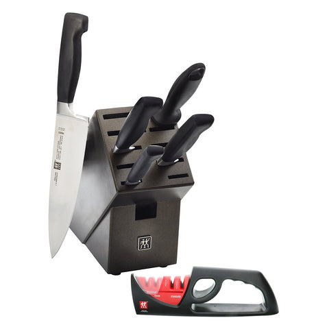 Zwilling Henckels 35150-007 Four Star 7-Piece Knife Block Set (Bonus Sharpener)