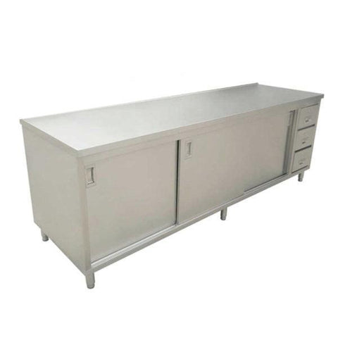 "Nella 24"" x 72"" Stainless Steel Work Table with Cabinet, Drawers and Sliding Doors - 44191"