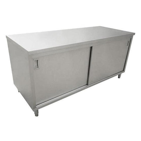 "Nella 30"" x 72"" Stainless Steel Work Table with Cabinet and Sliding Doors - 44194"