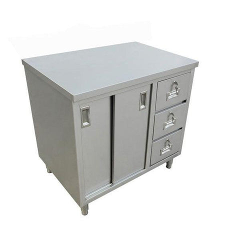 "Nella 30"" x 48"" Stainless Steel Work Table with Cabinet, Drawers and Sliding Doors - 44195"
