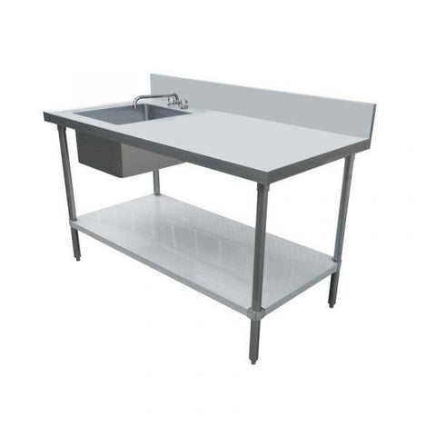 "Nella 24"" x 60"" Stainless Steel Table with Left Sink and 6"" Backsplash - 44259"