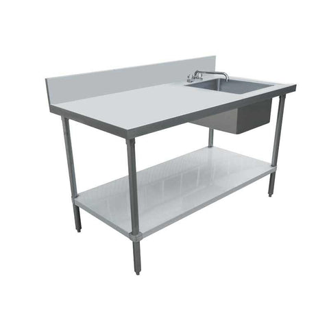 "Nella 24"" x 60"" Stainless Steel Table with Right Sink and 6"" Backsplash - 44300"