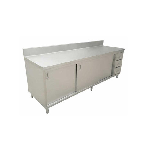 "NELLA 45286 30"" x 72"" STAINLESS STEEL WORK TABLE WITH CABINET, DRAWERS AND 6"" BACKSPLASH"