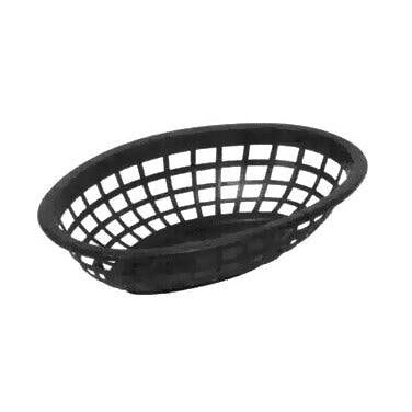 "Johnson-Rose 80711 7.75"" x 5.5"" Oval Plastic Basket - Black"