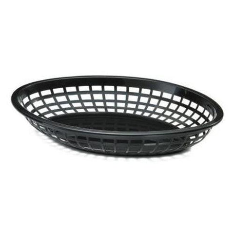 "Johnson-Rose 80741 9"" x 6"" Oval Plastic Basket - Black"