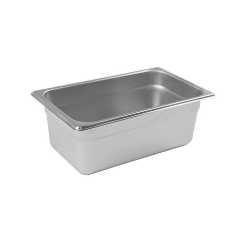"Browne 4"" 25 Gauge Anti-Jam 1/4 Size Steam Table Pan / Hotel Pan - 98144"