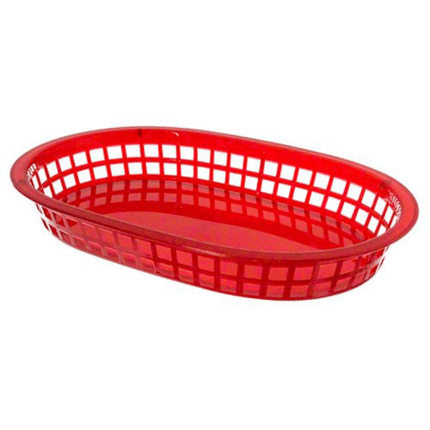 "Update International BB107R 10"" x 7"" Oval Plastic Basket - Red"