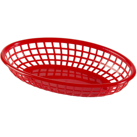 "Update International BB96R 9"" Oval Plastic Basket - Red"