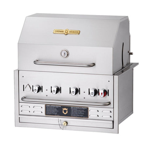 "Crown Verity BI-30 30"" Built-In BBQ Grill with Roll Dome Package - Natural Gas - Nella Cutlery Toronto"
