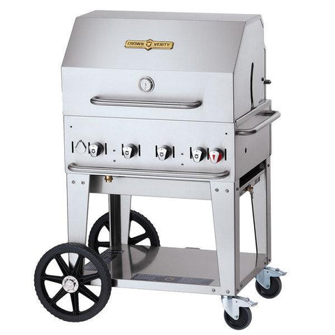 "Crown Verity MCB-30-RDP 30"" Mobile BBQ Grill with Roll Dome Package - Natural Gas"