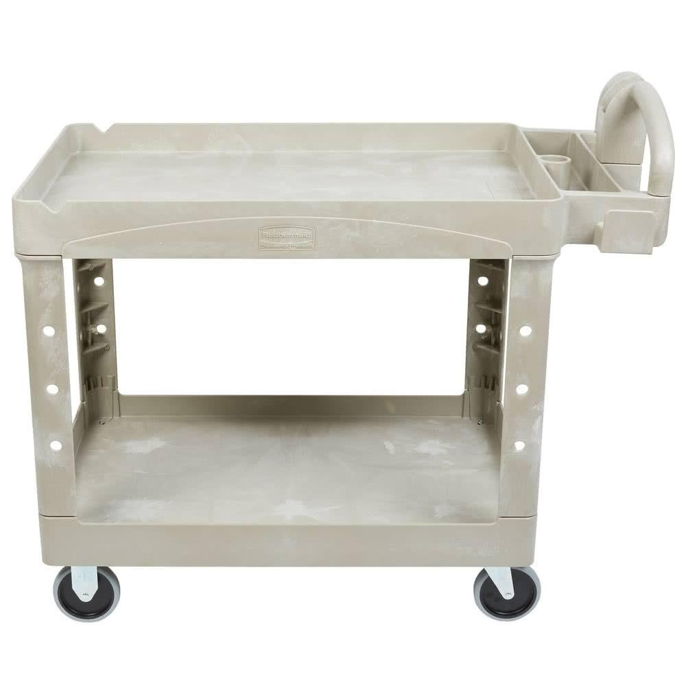 ... RUBBERMAID FG452088BEIG BEIGE HEAVY DUTY TWO LIPPED SHELF UTILITY CART  ...