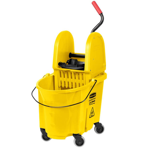Rubbermaid FG757788YEL 35 Qt. Wavebrake Yellow Mop Bucket With Down Press Wringer