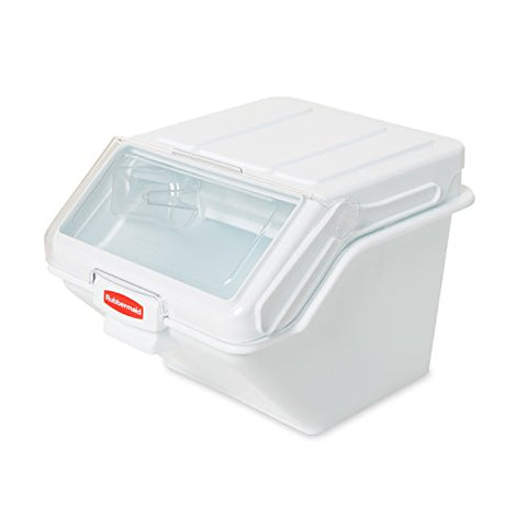 Rubbermaid FG9G6000WHT Commercial ProSave Shelf Ingredient Bin with Scoop, 40-Cup, White