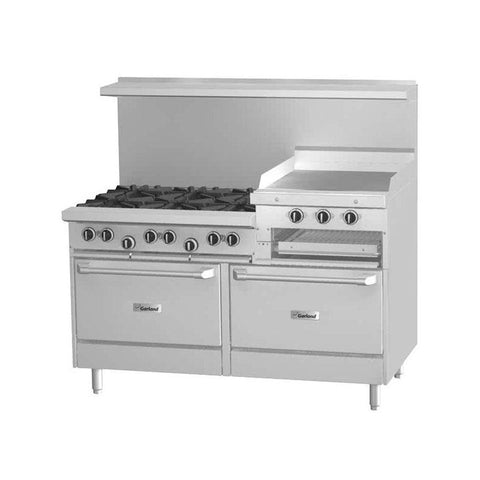 "Garland G60-6R24RR 60"" Natural Gas 6 Burner Range With 24"" Raised Griddle Or Broiler And 2 Standard Ovens - 307,000 Btu - Nella Cutlery Toronto"