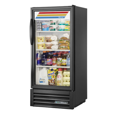 "True GDM-10-HC~TSL01 25"" Black Refrigerated Glass Door Merchandiser"