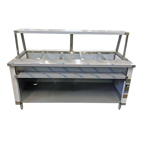 "Nella 72"" Single Tank 5 Well Electric Steam Table with Sneeze Guard - IST-5-SG"