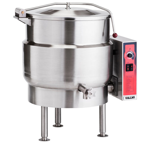 VULCAN K40EL 40 GALLON STATIONARY 2/3 STEAM JACKETED ELECTRIC KETTLE - 208V, 3 PHASE