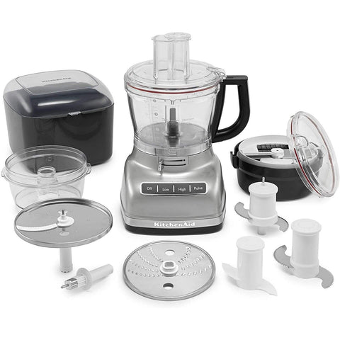 KitchenAid 14 Cup Food Processor W/Commercial-Style Dicing Kit Contour Silver- KFP1466CU