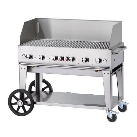 "Crown Verity MCB-48WGP 48"" Mobile BBQ Grill with Wind Guard Package - Natural Gas - Nella Cutlery Toronto"