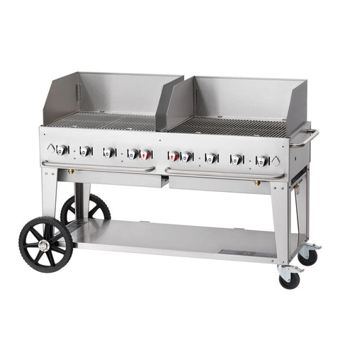 "Crown Verity MCB-60WGP 60"" Mobile BBQ Grill with Wind Guard Package - Natural Gas - Nella Cutlery Toronto"