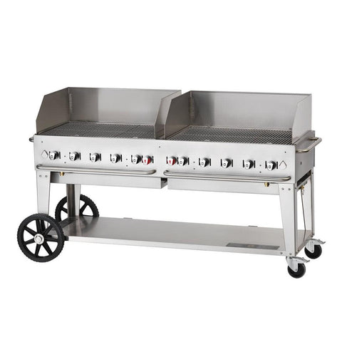 "Crown Verity MCB-72WGP 72"" Mobile BBQ Grill with Wind Guard Package - Natural Gas - Nella Cutlery Toronto"