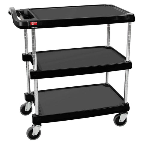 "METRO MYCART MY1627-34BL 18"" x 32"" BLACK UTILITY CART WITH THREE SHELVES AND CHROME POSTS"