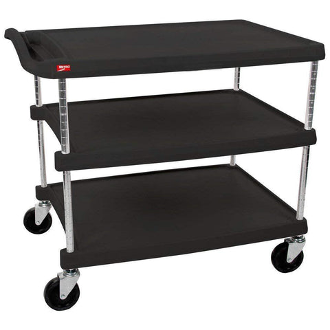 "METRO MYCART MY2030-34BL 24"" x 34"" BLACK UTILITY CART WITH TWO SHELVES AND CHROME POSTS"