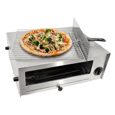 "Nella 12"" Diameter Countertop Chrome Wire Rack Pizza Oven with Cool Touch Handle - 1,450W - 43219"
