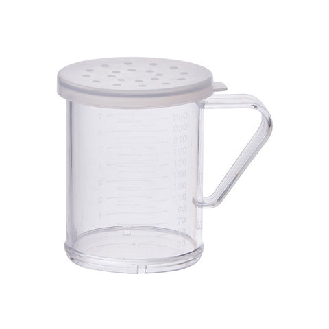 Winco PDG-10 10 Oz. Polycarbonate Dredge with Clear Snap-on Lid