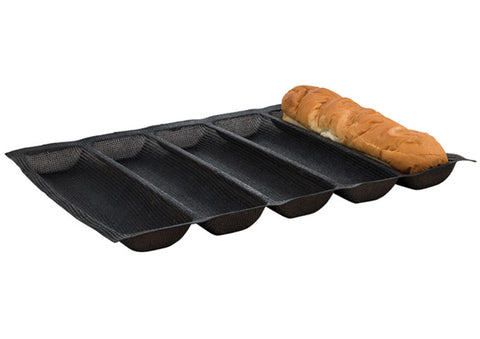 Winco SBF-5K 5-Roll Silicone Bread Pan - Black