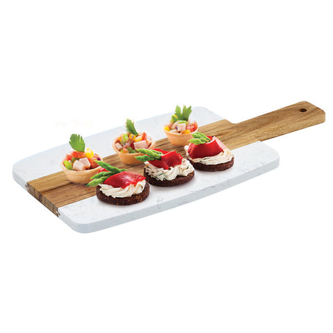 "Winco SBMW-117 9"" x 7"" Marble and Wood Serving Board"
