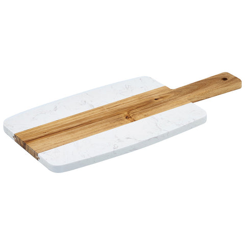 "Winco SBMW-157 10.75"" x 7"" Marble and Wood Serving Board"