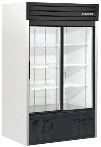 Habco SE42 Bottom Mount Two Glass Sliding Door Merchandising Refrigerator