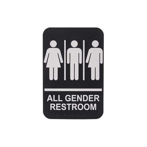 "Winco SGNB-607 6"" x 9"" Informational Sign with Braille - All Gender Restroom"
