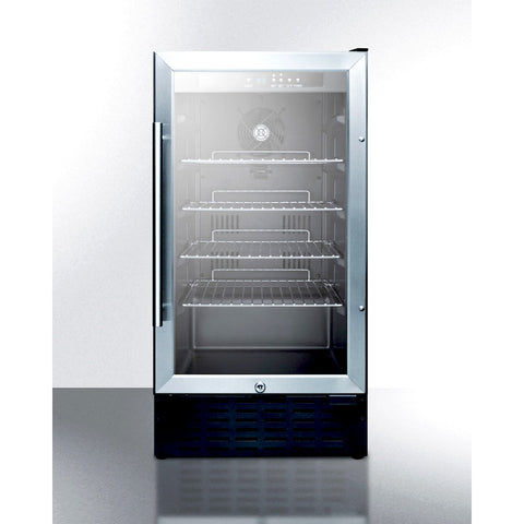"Summit SCR1841BADA 18"" Glass Wine Cooler with Stainless Steel Trim - 2.7 Cu. Ft."