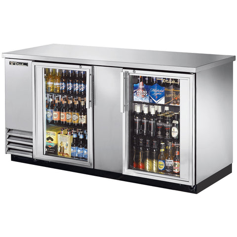 "TRUE TBB-3G-S-LD 69"" STAINLESS STEEL GLASS DOOR BACK BAR REFRIGERATOR"