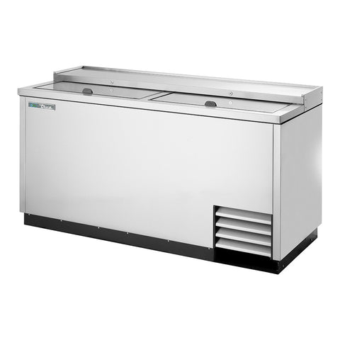 "True TD-65-24-S-HC 64"" Solid Slide Lid Stainless Steel Deep Well Horizontal Bottle Cooler"
