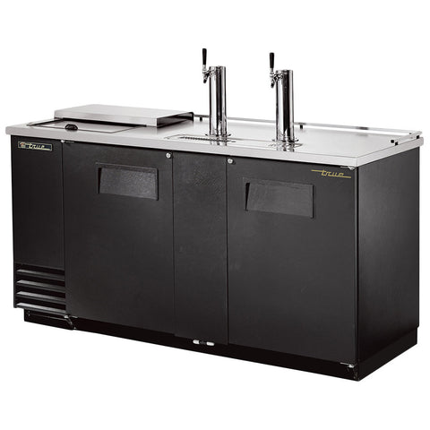 "TRUE TDD-3CT 70"" BLACK SOLID DOOR DIRECT DRAW BEER DISPENSER WITH THREE KEG"