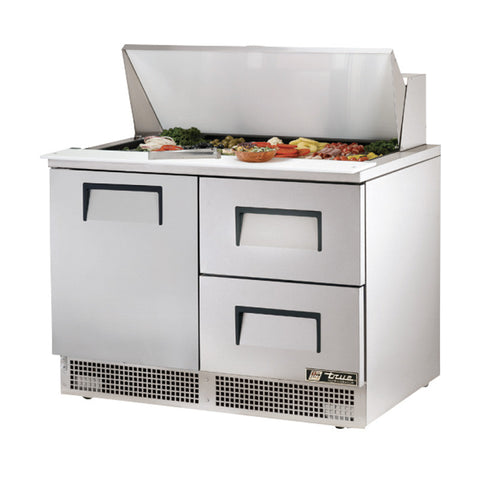 "TRUE 48"" 1 DOOR 2 DRAWER FOOD PREP TABLE - TFP-48-18M-D-2 - Nella Cutlery Toronto"